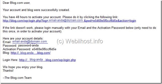 email aktifasi blog
