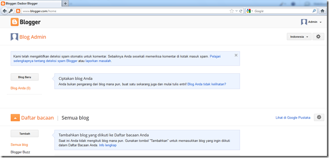 halaman dashboard Blogger
