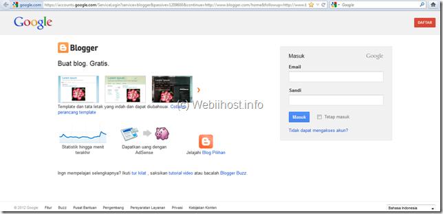 halaman utama Blogger