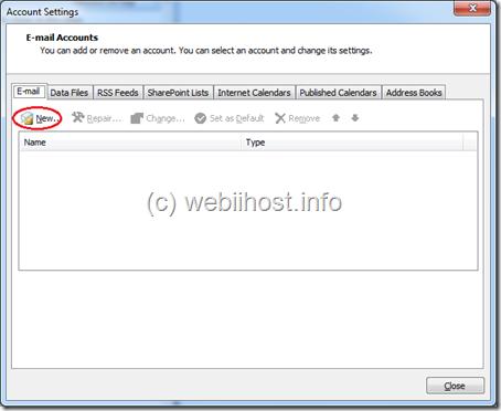 klik tab email dan klik new