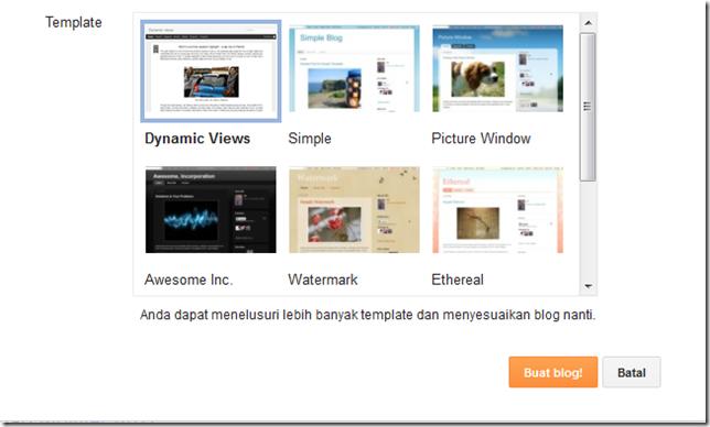 memilih template untuk blog Anda