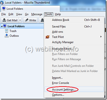 pilih menu tools kemudian account setting