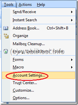 pilih tools, pilih account settings