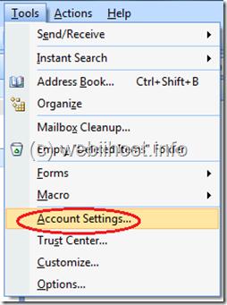 pilih tools, pilih account settings